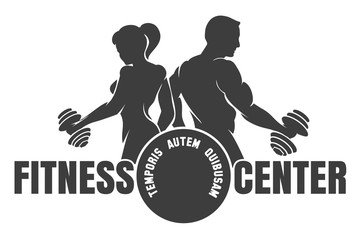Fitness Center emblem with silhouettes of bodybuilders