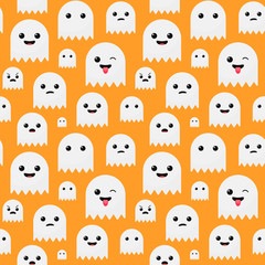Funny cute orange Halloween ghost seamless pattern vector background