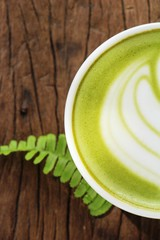 Hot green tea with matcha and milk