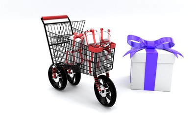 Three wheels shopping gift boxes concept, 3d