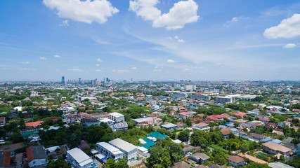 Aerial city view from flying drone at Nonthaburi, Thailand. top view landscape