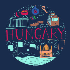 Culture of Hungary. Hand drawn symbols of Hungary.