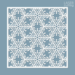 Laser cut square ornamental panel with snowflakes pattern. Template of Christmas invitation or New Year greeting card. Cabinet fretwork screen. Metal design, wood carving.