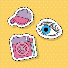 cute photo camera sport cap eye sticker decoration vector illustration