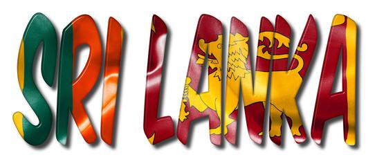 Sri Lanka Word With Flag Texture