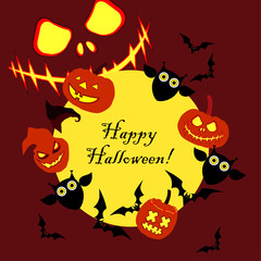 Vector background Happy Halloween. Halloween Party with pumpkins. Poster, postcard. Textile rapport.