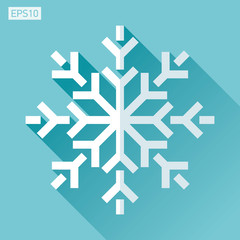 Snowflake icon in flat style on color background. Vector winter design element for you Christmas project