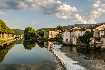View of the river in Saint-Girons, France
