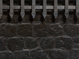 medieval castle gate or wall background 3d illustration