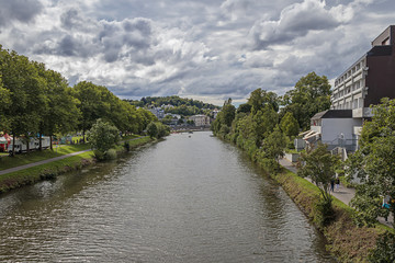 The River Saar In Saarbrucken, Germany.