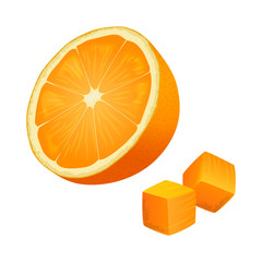 Half of Orange with Two Cubes Isolated Illustration