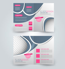 Abstract flyer design background. Brochure template. Can be used for magazine cover, business mockup, education, presentation, report. Pink and grey color.