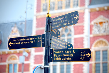 Tourist signs out of the station in Amsterdam
