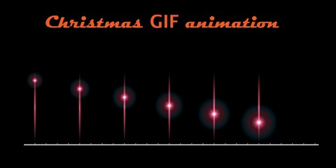 A set of create Christmas animations. Moving flash on a black background