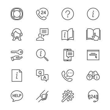 Help and support thin icons