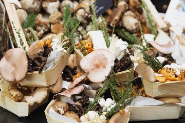 Mushrooms in morning fresh market