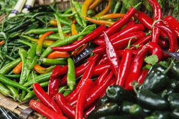 Multicolored peppers on Borough market