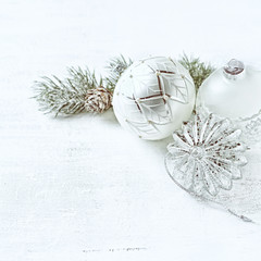 Christmas decoration on white painted wooden background