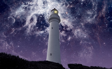 Split Point lighthouse in a deep sky background. Some images elements furnished by NASA.