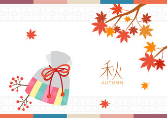 Korean traditional lucky bag with maple leaves background
