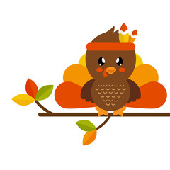 cute turkey on a branch vector