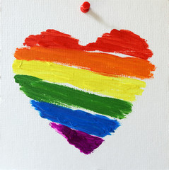 Gay lgbt flag painted rainbow heart