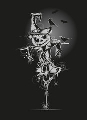 Ein Vogelscheuche mit Kürbiskopf in der Dunkelheit. mit Raben und Fledermäuse