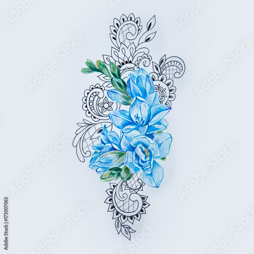 b4b24a707 A sketch of blue freesia flower in a beautiful pattern on a white background .