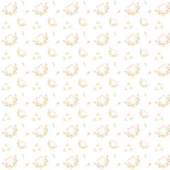 Background with flowers and hearts. For print. Scrapbook paper.