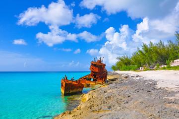 Rustic shipwreck in Bimini, Bahamas.