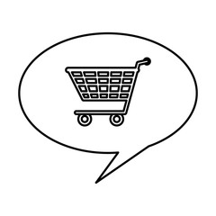 speech bubble with shopping cart isolated icon