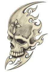 Art design skull tattoo.Hand pencil drawing on paper.