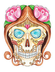 Art design sugar skull day of the dead.Hand painting on paper.