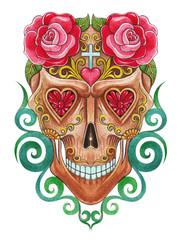 Art design sugar skull day of the dead. Hand painting on paper.