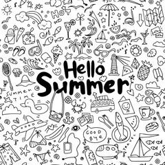 Hand drawn vector illustration set of summer elements.seamless background doodle