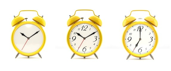 Set of 4 yellow alarm clocks