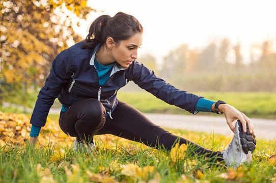 Girl exercising at park