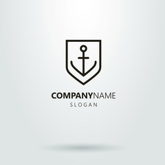 Black and white line art logo of anchor on the shield