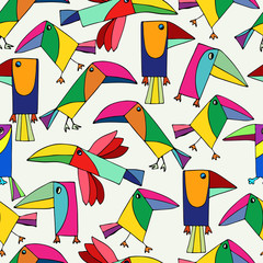 Seamless pattern cute toucans. Funny tropical bird on white background.