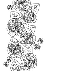 vector black white contour simple illustration of rose flowers pattern