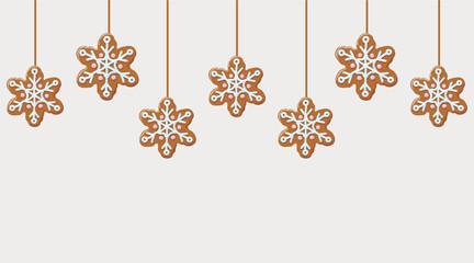 Hanging gingerbread snowflakes cookies