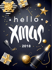 merry christmas 2018 gold and black collors place for text chris