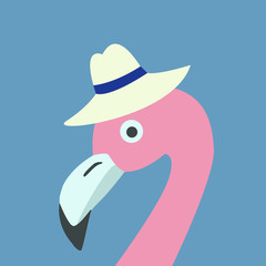 Pink Flamingo Head wearing Hat. Retro Style, blue Background. Vector Illustration