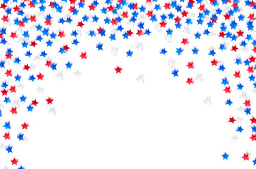 USA celebration confetti stars in national colors Blue, red and white for independence day isolated on white background.