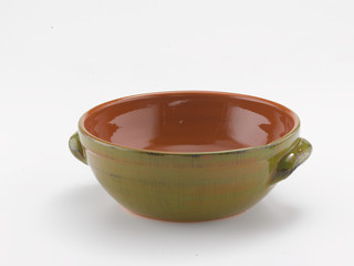 terracotta pot with handles on white background