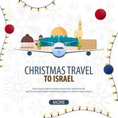 Christmas Travel to Israel. Winter travel. Vector illustration.