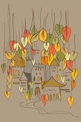 fairy castle of fairies or elves in the autumn foliage