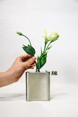 Lisianthus in a flask