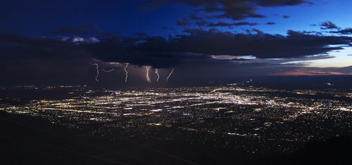 A Thunderstorm After Dusk Over Albuquerque, New Mexico