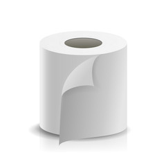 Realistic Paper Roll Vector. Template Blank White Toilet Paper roll Mock Up. Cash Register Tape, Thermal Fax Roll Template Isolated Illustration